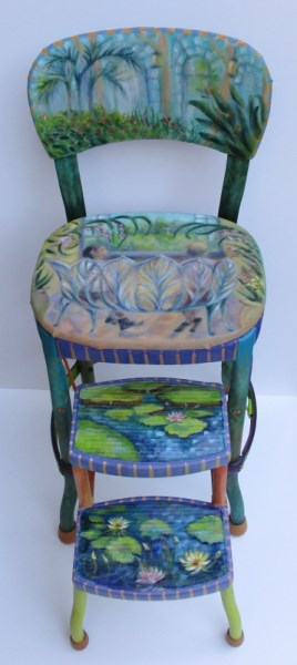 Laura McMillan Art paintings on furniture